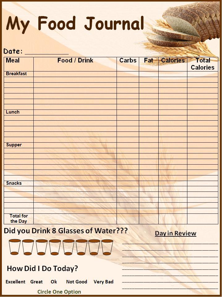 Connu modèle gratuit pour le Journal alimentaire | Modèle Microsoft Word YH28